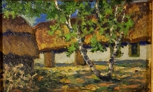 Pierre Eugène MONTEZIN - Peinture - paysage à la ferme