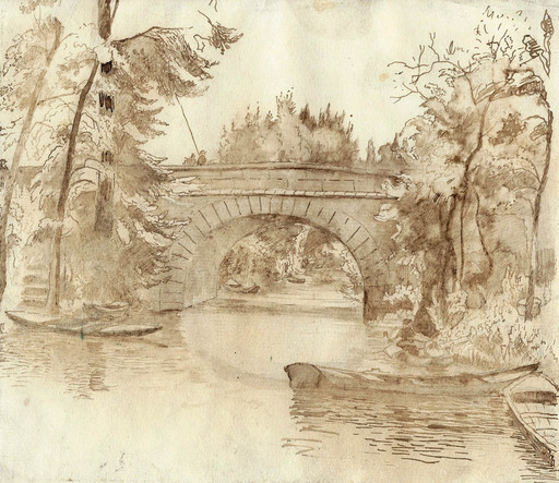 Georges LE MEILLEUR - Drawing-Watercolor - Pêcheur sur un pont