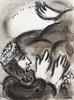 Marc CHAGALL - Dessin-Aquarelle - Le Roi Balthasar Regarde la Main qui Écrit