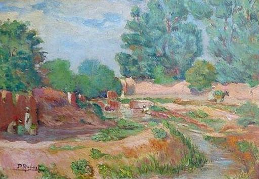 Paul Théophile ROBERT - 绘画 - Farmer near a wadi