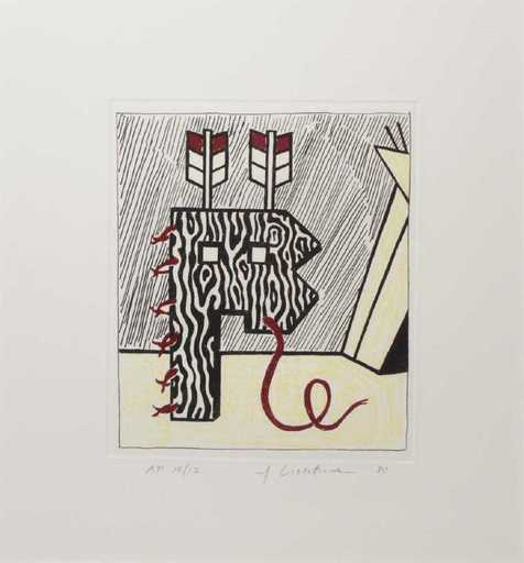 Roy LICHTENSTEIN - Stampa Multiplo - Figure with Teepee