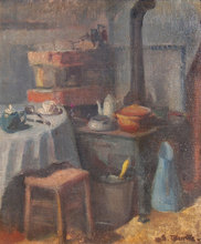 Suzanne TOURTE - Painting - Kitchen Interior