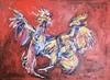 Nicole LEIDENFROST - Gemälde - Kämpfende Hähne