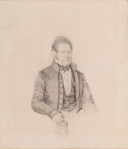 """Leopold KUPELWIESER - Zeichnung Aquarell - """"Portrait of a Gentleman"""", 1840's"""