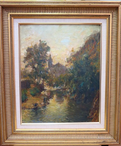 Julien Gustave GAGLIARDINI - Painting - Les lavandières