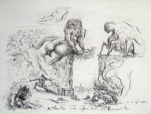 André MASSON - Dessin-Aquarelle - Détails des jardins d'Armide