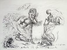 André MASSON - Drawing-Watercolor - Détails des jardins d'Armide