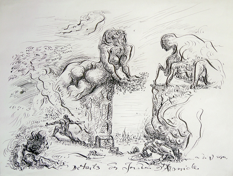André MASSON - Drawing-Watercolor - Détails des jardins d'Armide