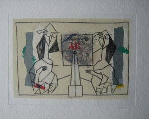 James COIGNARD - Grabado - LES 3 DEMOISELLES DE VERTU