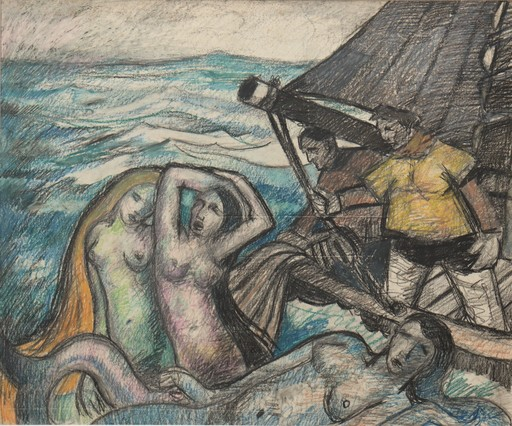 "Raymond DIERICKX - Drawing-Watercolor - ""LA PÊCHE MIRACULEUSE"""