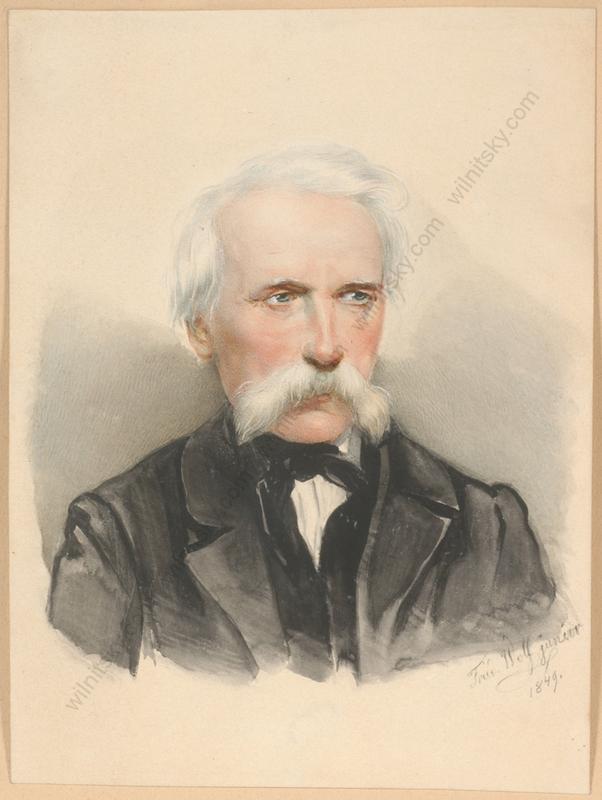 """Friedrich WOLF - 缩略图  - """"Male portrait"""", watercolor, 1849"""