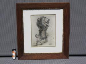 Adolph VON MENZEL - Drawing-Watercolor - Putten mit Handschuh