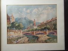 Gaston LEROY - Dibujo Acuarela - Nice le pont vieux