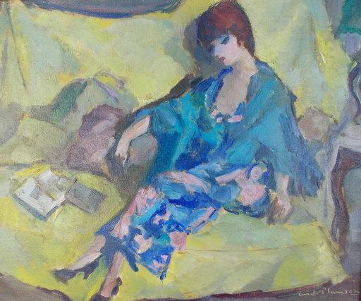André PLANSON - Pintura - Femme sur canapé