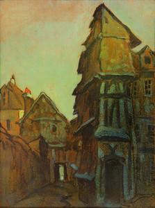 Robert Antoine PINCHON - Painting - La rue des Petites Eaux à Rouen