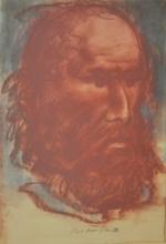 Pietro ANNIGONI - Disegno Acquarello - Volto maschile