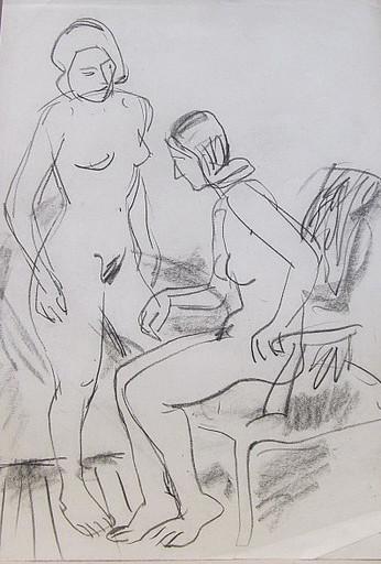 Erich HARTMANN - Disegno Acquarello - 2 nackte Frauen: Stehend und sitzend.