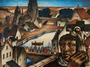 """Raymond DIERICKX - Drawing-Watercolor - LA PROCESSION AU DESSUS DE LA VILLE"""""""