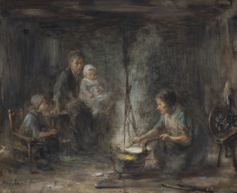 Jozef ISRAELS - Drawing-Watercolor - Woman Cooking
