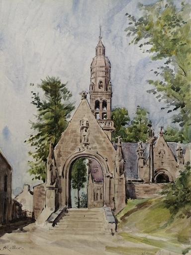 Alfred KELLER - Dibujo Acuarela - Notre Dame de Chateaulin - Bretagne - (KP6)