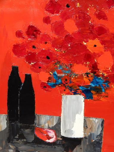 François GAVAZZI - Pittura - Fleurs rouges au pot blanc