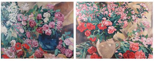 Louis VALTAT - Peinture - Fleurs au vase bleu et Pivoines dans un vase jaune
