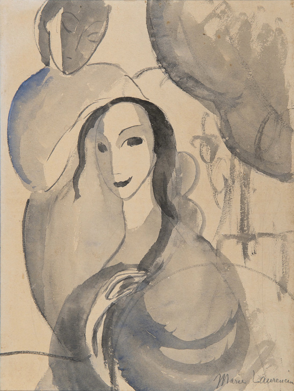 Marie LAURENCIN - Drawing-Watercolor - Autoportrait avec une amie