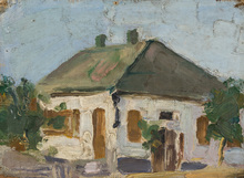 Vladimir Davidovic BARANOV-ROSSINÉ - Painting - A House in the Village