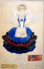 "Nathalie GONTCHAROVA - Drawing-Watercolor - Costume design for a girl, J. Offenbach ""Parisian Life"""