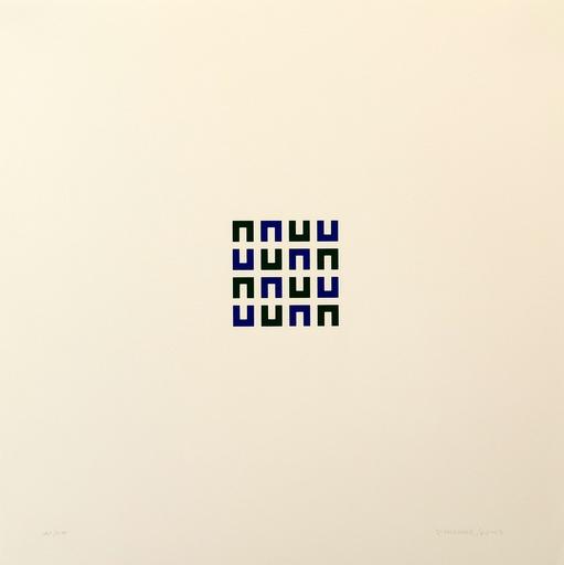 Véra MOLNAR - Print-Multiple - 16 élements vert et bleu