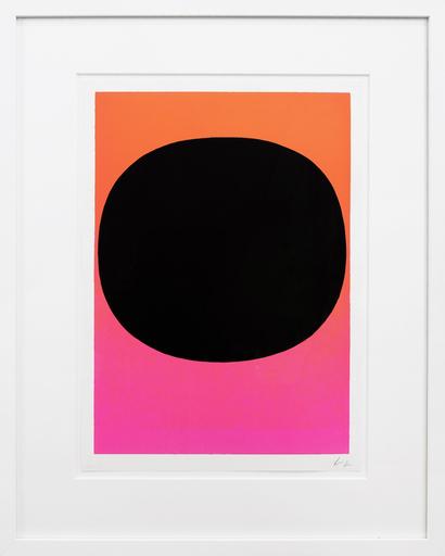 Rupprecht GEIGER - Estampe-Multiple - Variation Runde Farbe I - schwarz auf leuchtrot-pink