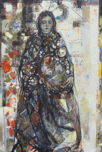 Jean COMMERE - Painting - Madone à l'enfant