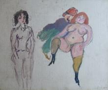 Jules PASCIN - Painting - Deux Femmes et un Sidi
