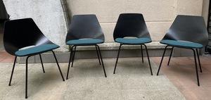 """Pierre GUARICHE - Série de 4 chaises - Modèle """"Tonneau"""""""