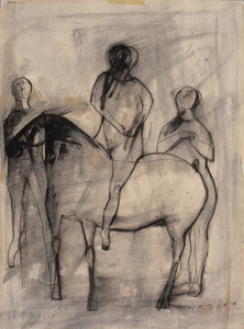 Marino MARINI - Drawing-Watercolor - Jugglers and Horse | Giocolieri e Cavallo
