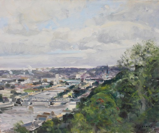 Gaston SEBIRE - Painting -  La seine à Rouen en été