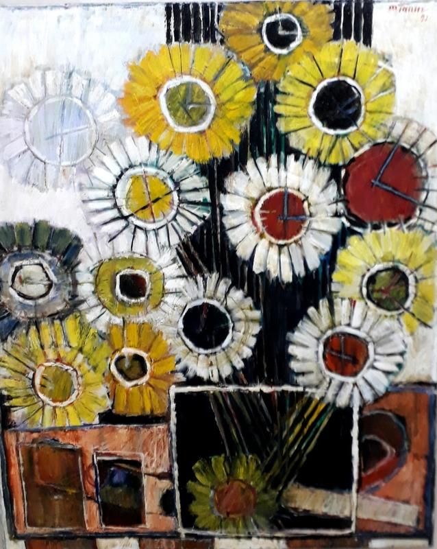 Moshe TAMIR - Painting - Vase of Flowers