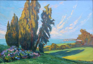 """Georges BERGES - Painting - """"LA POINTE SAINTE-BARBE A SAINT-JEAN DE LUZ DEPUIS BORDAGAIN"""