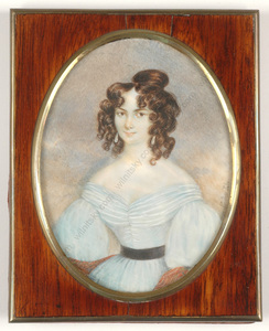 young lady in blue important large miniature ca 1830 by johann
