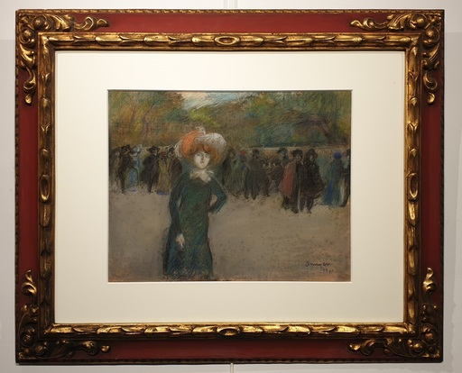 Joaquín SUNYER - Dibujo Acuarela - Boulevard de Paris -