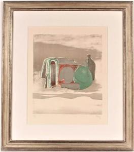 亨利•摩尔 - 版画 - Reclining Figure With Sky Background