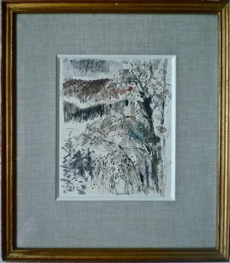Guy BARDONE - Dibujo Acuarela - Arbre et neige