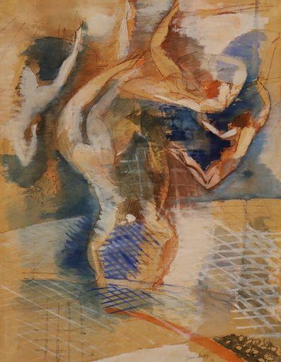 Jean DUFY - Pintura - Les acrobates / Trapeze Artists