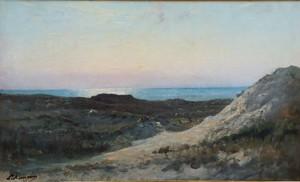 """Louis Auguste AUGUIN - Pittura - """"COUCHER DE SOLEIL SUR L'OCEAN"""""""