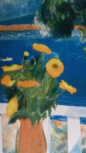 Guy BARDONE - Estampe-Multiple - Harmonie en bleue et or