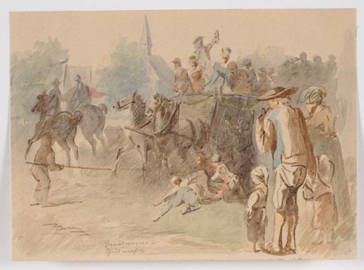 "Adolf WERNER - Drawing-Watercolor - ""Wedding in Niederlausitz, Saxony"" , 2. H. of the 19th Centu"