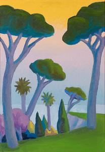 SALVO - Painting - Paesaggio con pini
