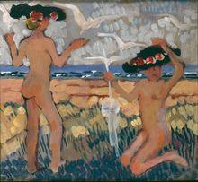 Jean Émile LABOUREUR - Painting - Les deux baigneuses aux chapeaux noirs, Nouvelle Ecosse