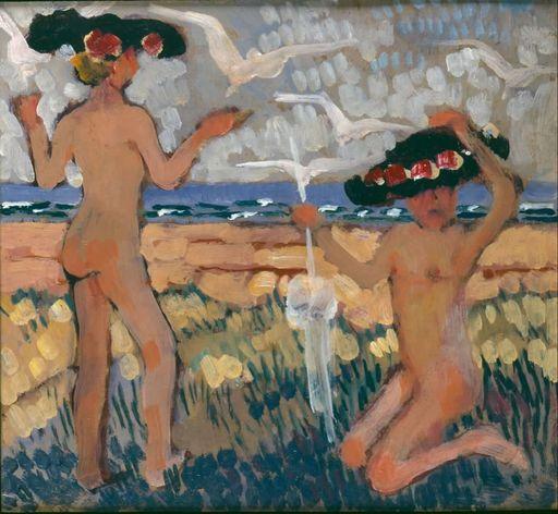 Jean Émile LABOUREUR - Pintura - Les deux baigneuses aux chapeaux noirs, Nouvelle Ecosse