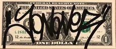 JONONE - Dibujo Acuarela - TAG sur billet de 1$